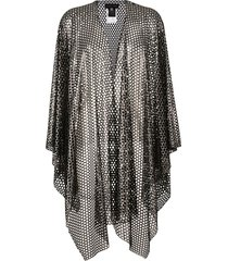 talbot runhof perforated mesh poncho - black
