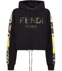 fendi floral logo cropped hoodie - black