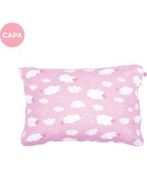 fronha avulsa fom travesseiro mini ovelhinhas rosa