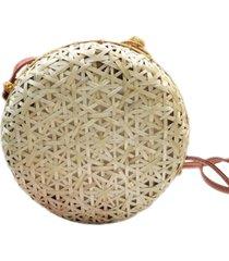 bolsa redonda de palha artestore clara vazada leve - bege/bronze/caramelo/castanho - feminino - dafiti