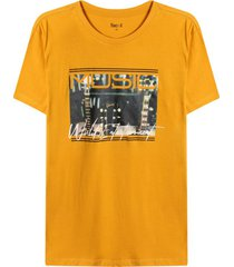 camiseta m/c con screen music color amarillo,talla xl