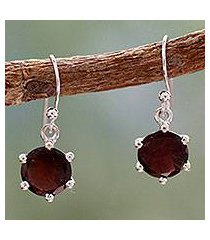 garnet dangle earrings, 'scarlet solitaire' (india)