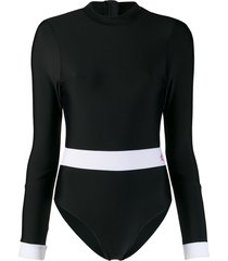 perfect moment long-sleeved surfing swimsuit - black