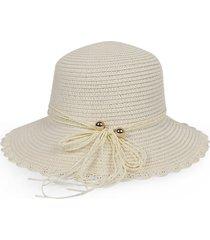 beach bowknot scalloped straw sun hat