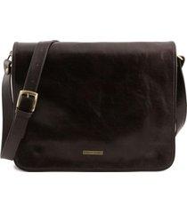 tuscany leather tl141254 tl messenger - borsa a tracolla 2 scomparti - misura grande testa di moro