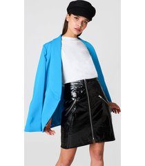 na-kd trend front zip patent skirt - black