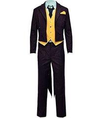 halloween costume stripe purple suit joker full sets
