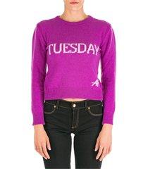 maglione maglia donna girocollo rainbow week tuesday