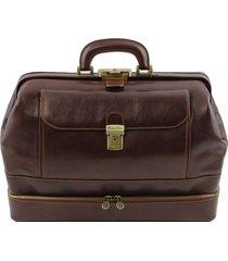 tuscany leather tl141297 giotto - esclusiva borsa medico in pelle con doppio fondo testa di moro