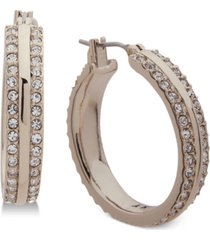 "dkny ""small gold-tone pave small hoop earrings 1"", created for macy's"