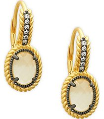 gilded cable oval drop earrings