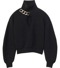 black turtle neck pullover knit
