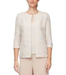 alex evenings petite jacquard-knit jacket and top