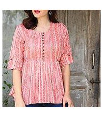 cotton blouse, 'dancing bubbles in peach' (india)