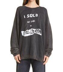 women's r13 i sold my soul distressed oversize sweatshirt, size x-small - black