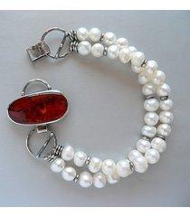 -perły i bursztyn-bransoletka-