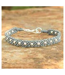silver braided bracelet, 'hill tribe harmony in gray' (thailand)