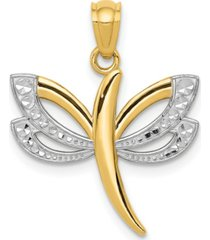 dragonfly charm in 14k yellow gold and rhodium