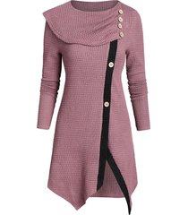 contrast trim mock button front slit sweater