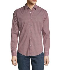 long-sleeve printed button-down shirt