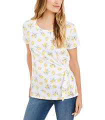 style & co printed side-tie t-shirt, created for macy's