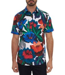 robert graham floral confusion short sleeve stretch button-up shirt, size large in multi at nordstrom