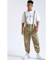 pantalones cargo de tirantes delanteros con cremallera informal de moda para hombres