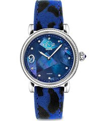 ravenna stainless steel, blue mother-of-pearl, diamond & animal-print leather-strap watch