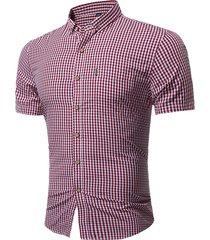 camicie eleganti da uomo a manica corta per la stampa di piccoli plaid casual da uomo