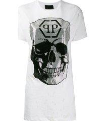 philipp plein destroyed skull t-shirt - white