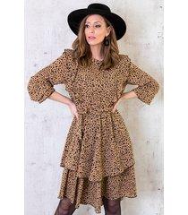 cheetah jurk met ruches beige