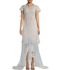 metallic lace high-low illusion gown