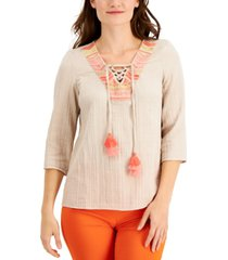 jm collection petite embroidered lace-up top, created for macy's