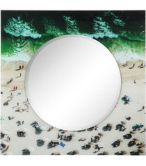 "empire art direct beach round beveled wall mirror on square free floating reverse printed tempered art glass, 36"" x 36"" x 0.4"""