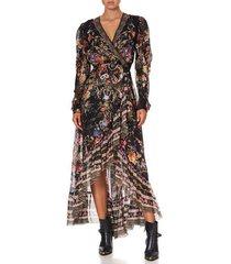 blushing manor blouson wrap sleeve dress