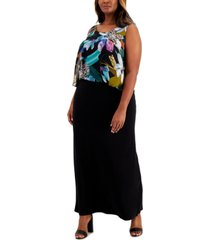 connected plus size printed overlay maxi dress