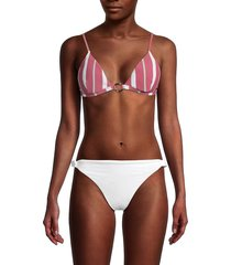 letarte women's striped bikini top - multi stripe - size l