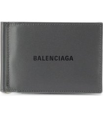 balenciaga bill clip square wallet - grey
