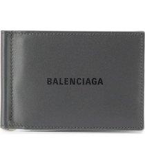 balenciaga bill clip square wallet - grey