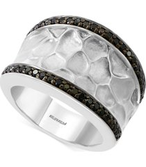 effy diamond textured statement ring (3/8 ct. t.w.) in sterling silver