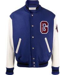 golden goose logo patch baseball jacket - blue