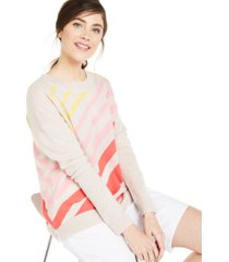 charter club cashmere diagonal-striped sweater, created for macy's