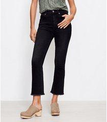 loft frayed high rise kick crop jeans in washed black wash