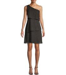 ava & aiden women's one-shoulder print dress - black - size xs