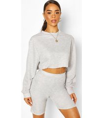 crew neck raw hem cropped sweat top, grey