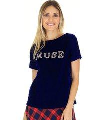 camiseta t-shirt veludo muse azul - preta - azul marinho - feminino - dafiti
