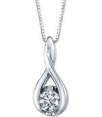 """sirena diamond twist pendant 18"""" necklace in 14k white gold (5/8 ct. t.w.)"""