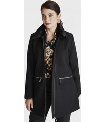 abrigo manga larga y cuello piel negro lorenzo di pontti