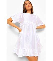 taffeta babydoll jurk met franjes, white