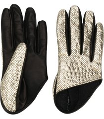 manokhi perforated two-tone gloves - black